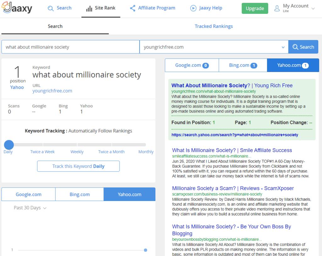 Jaaxy Yahoo Ranking