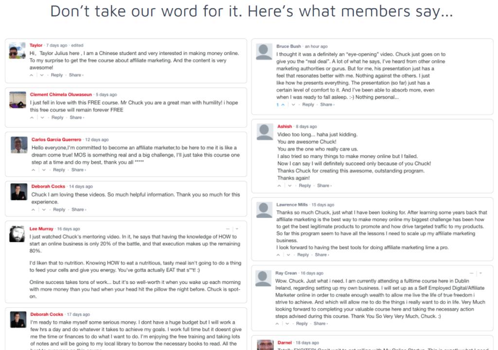 My Online Startup Testimonials